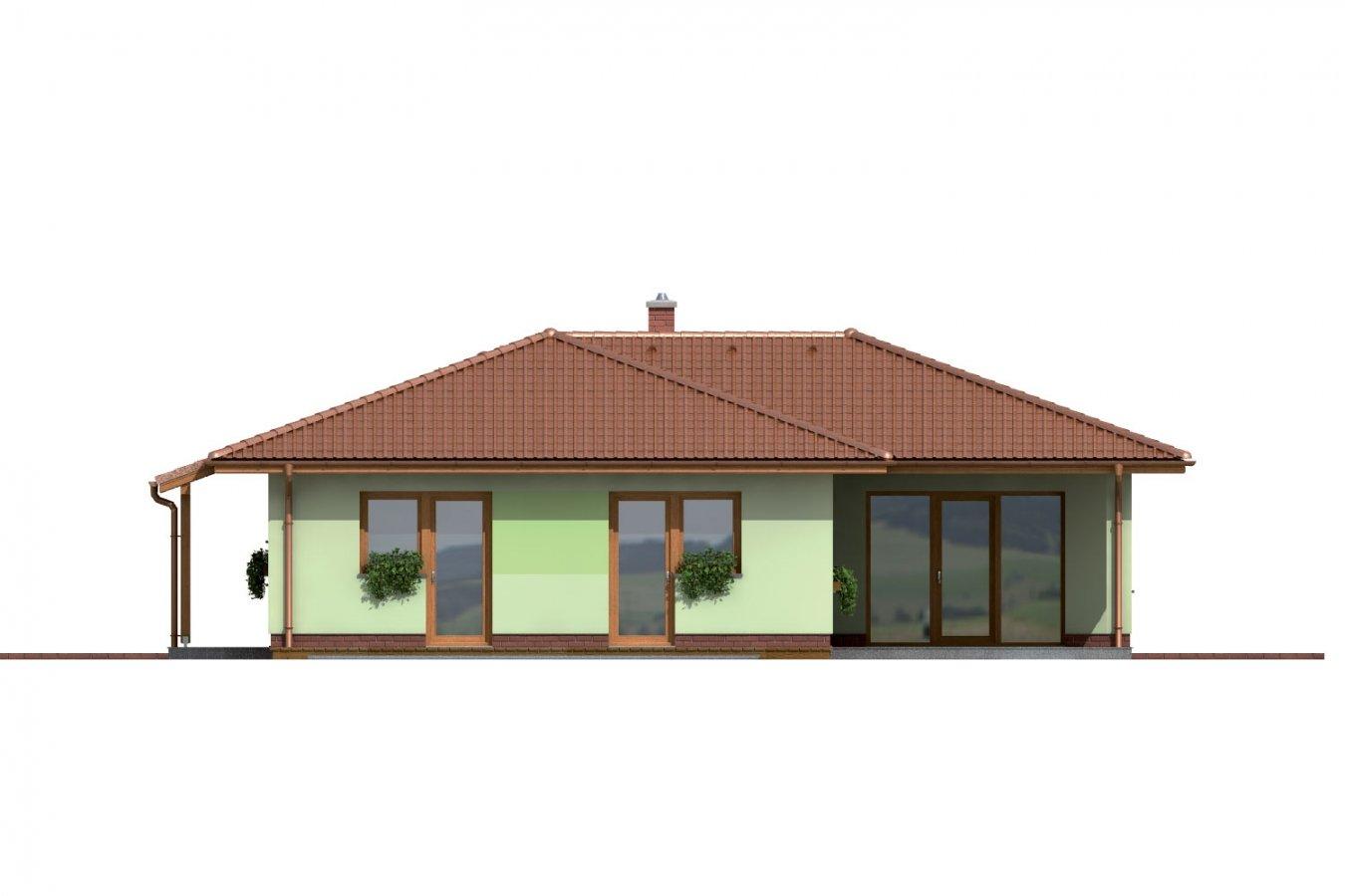 Pohľad 4. - Rodinný dom do tvaru L s krytou terasou.