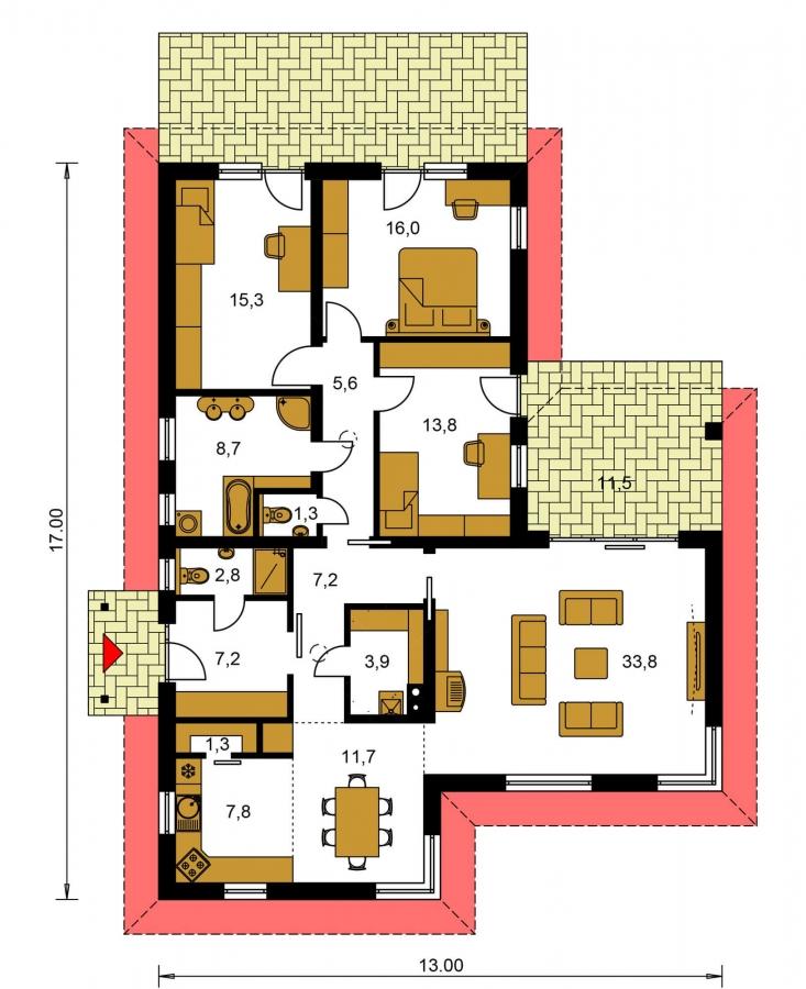 Pôdorys Prízemia - Rodinný dom do tvaru L s krytou terasou.