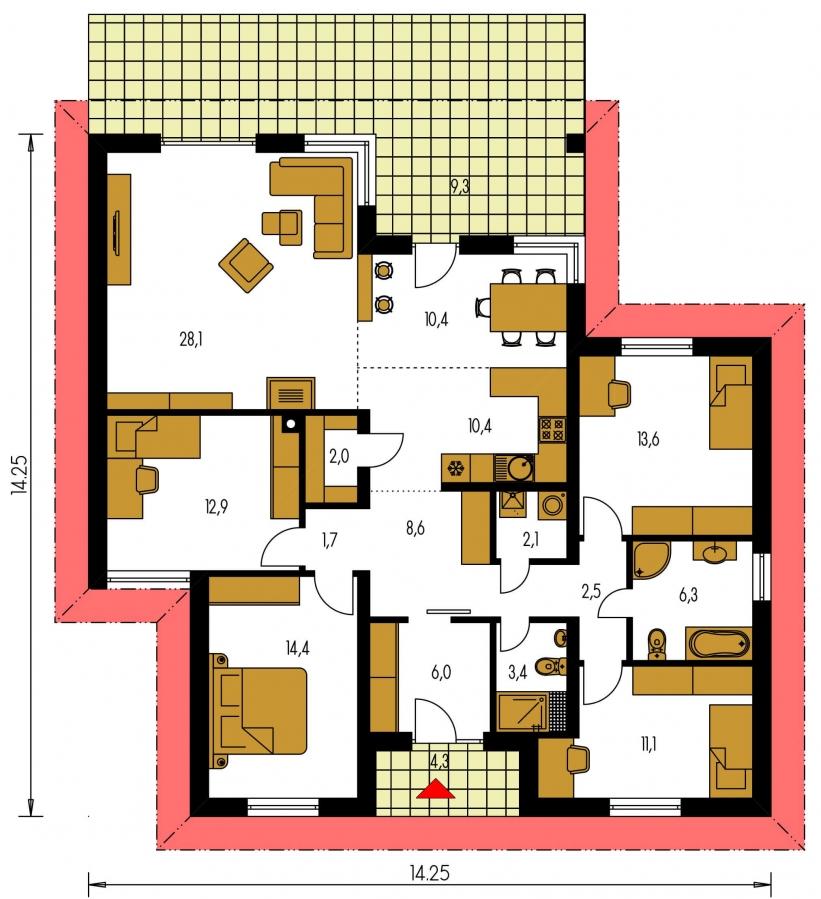 Pôdorys Prízemia - Moderný bungalov s priestrannou obývacou izbou s krbom.