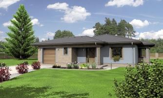 Dom v tvare L s garážou. Možnosť realizácie aj bez garáže.