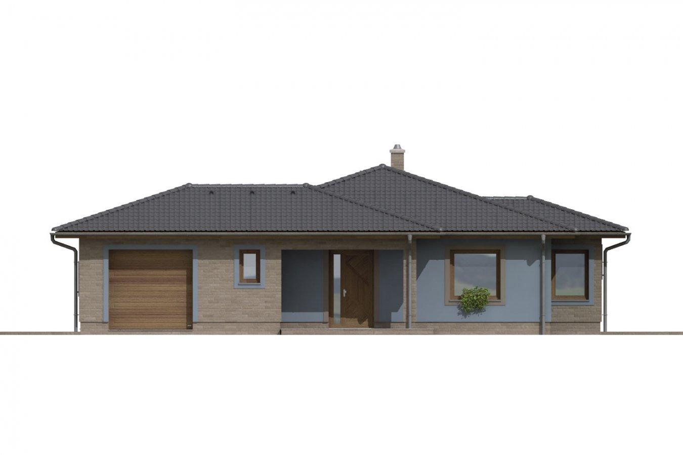 Pohľad 1. - Dom v tvare L s garážou. Možnosť realizácie aj bez garáže.
