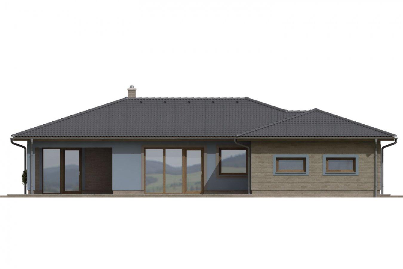 Pohľad 2. - Dom v tvare L s garážou. Možnosť realizácie aj bez garáže.