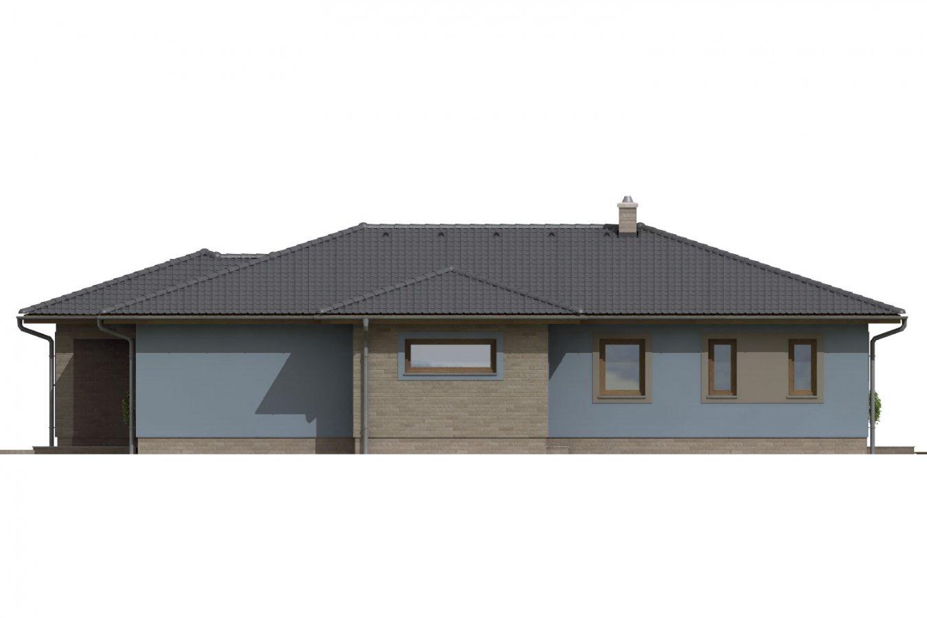 Pohľad 4. - Dom v tvare L s garážou. Možnosť realizácie aj bez garáže.