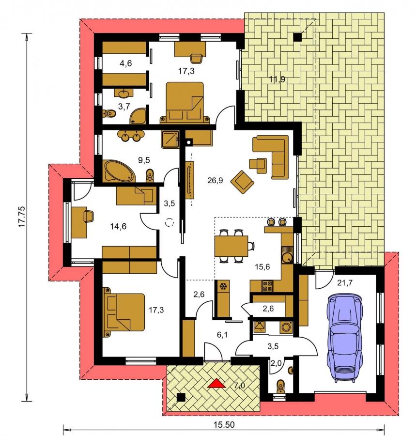 Pôdorys Prízemia - Dom v tvare L s garážou. Možnosť realizácie aj bez garáže.