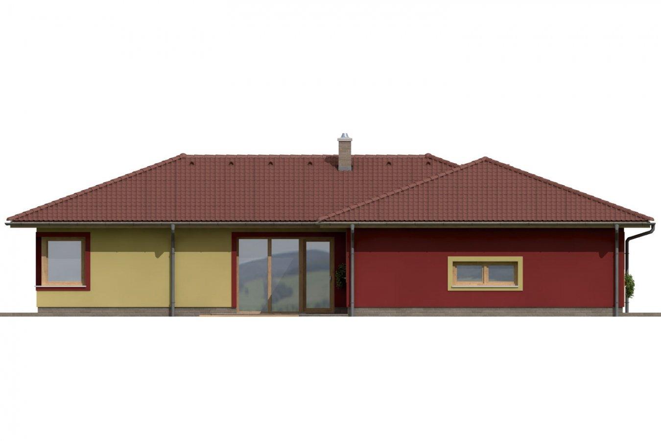 Pohľad 2. - Dom do L s dvomi garážami