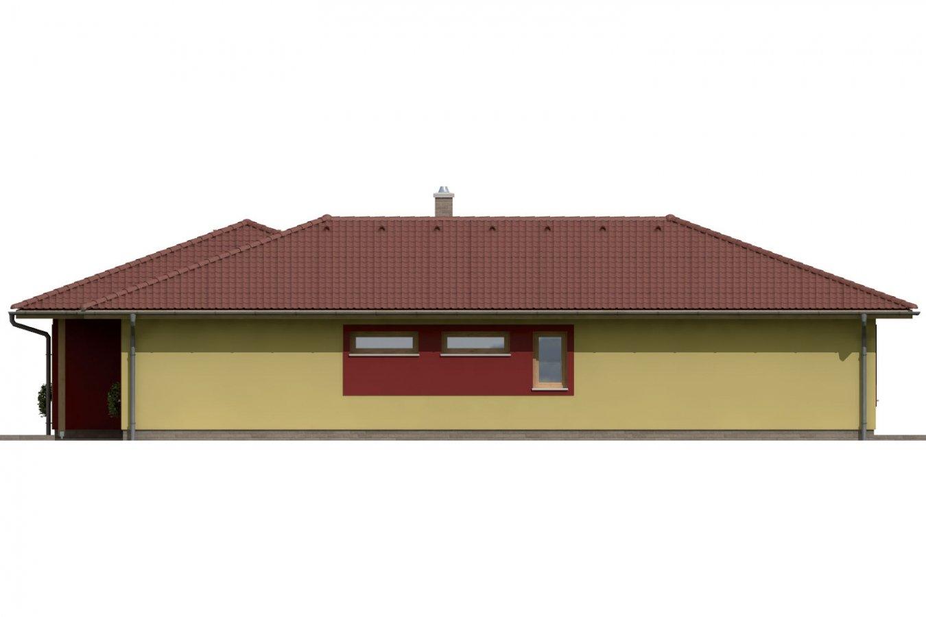 Pohľad 4. - Dom do L s dvomi garážami