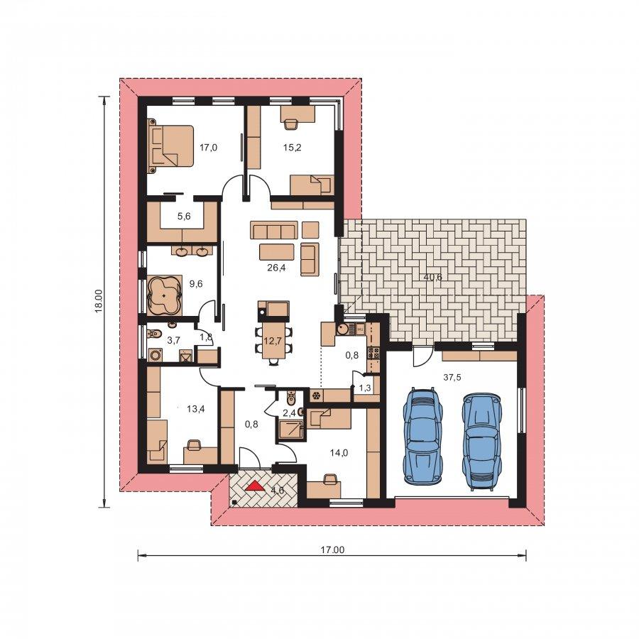 Pôdorys Prízemia - Dom do L s dvomi garážami