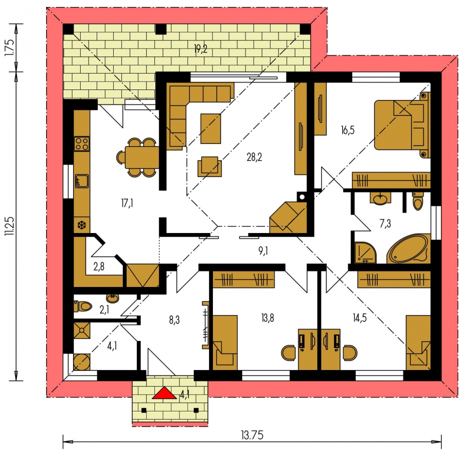 Pôdorys Prízemia - Dom s terasou do záhrady