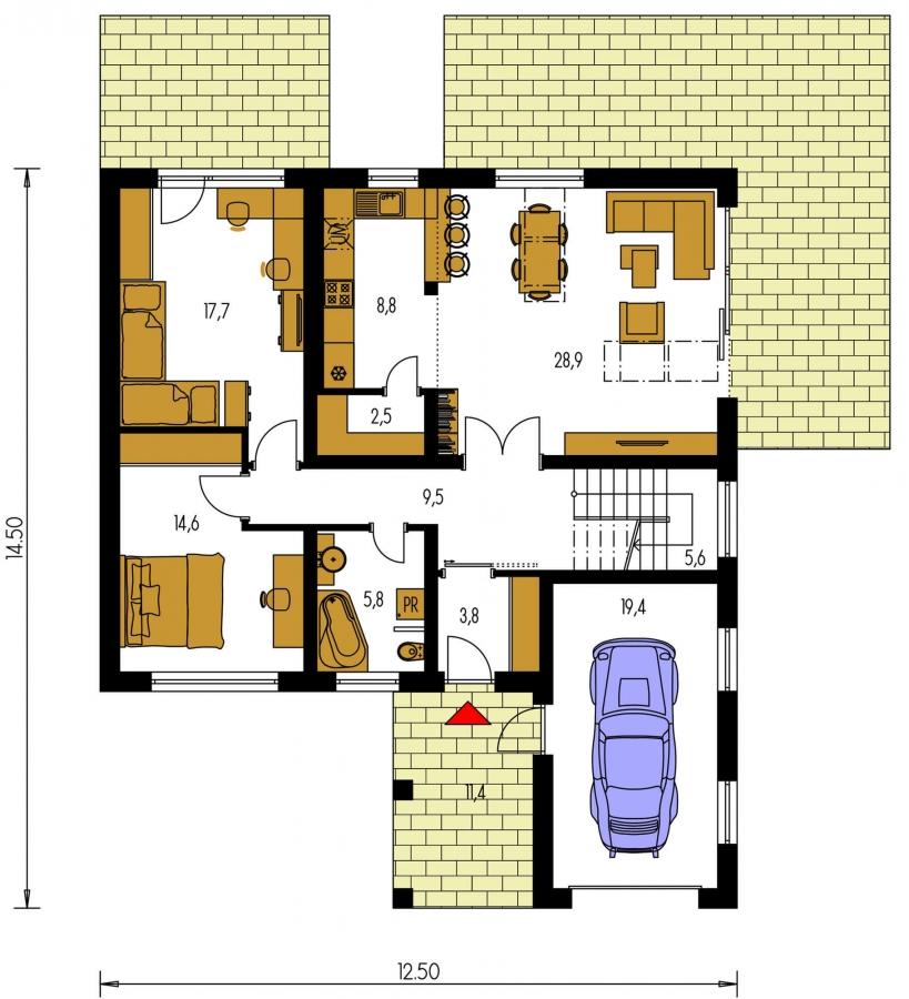 Pôdorys Prízemia - Dom s garážou a podkrovnými izbami