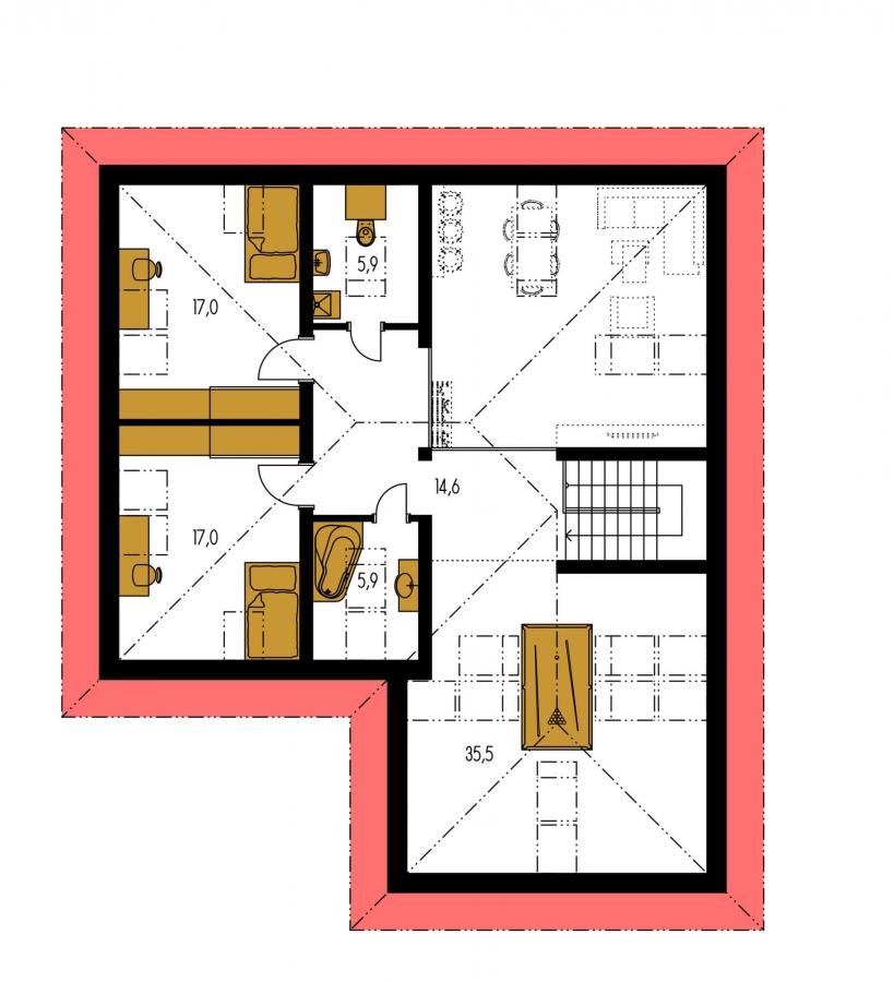 Pôdorys Poschodia - Dom s garážou a podkrovnými izbami