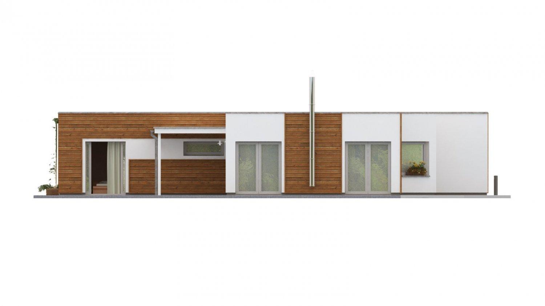 Pohľad 1. - Dom do L s plochou strechou.