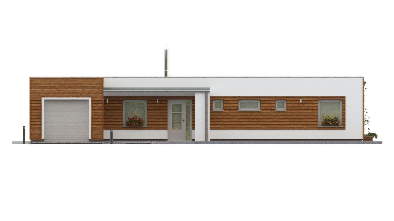 Pohľad 2. - Dom do L s plochou strechou.