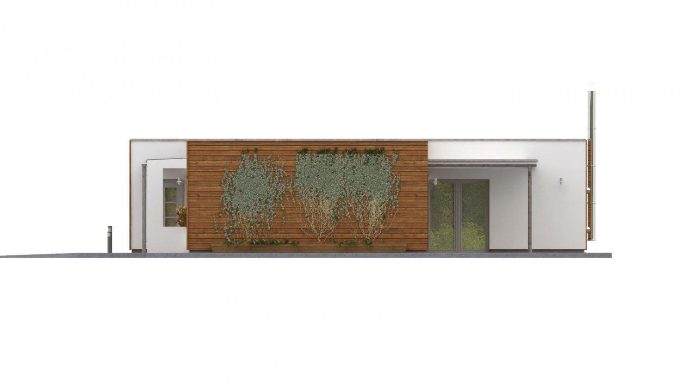 Pohľad 4. - Dom do L s plochou strechou.