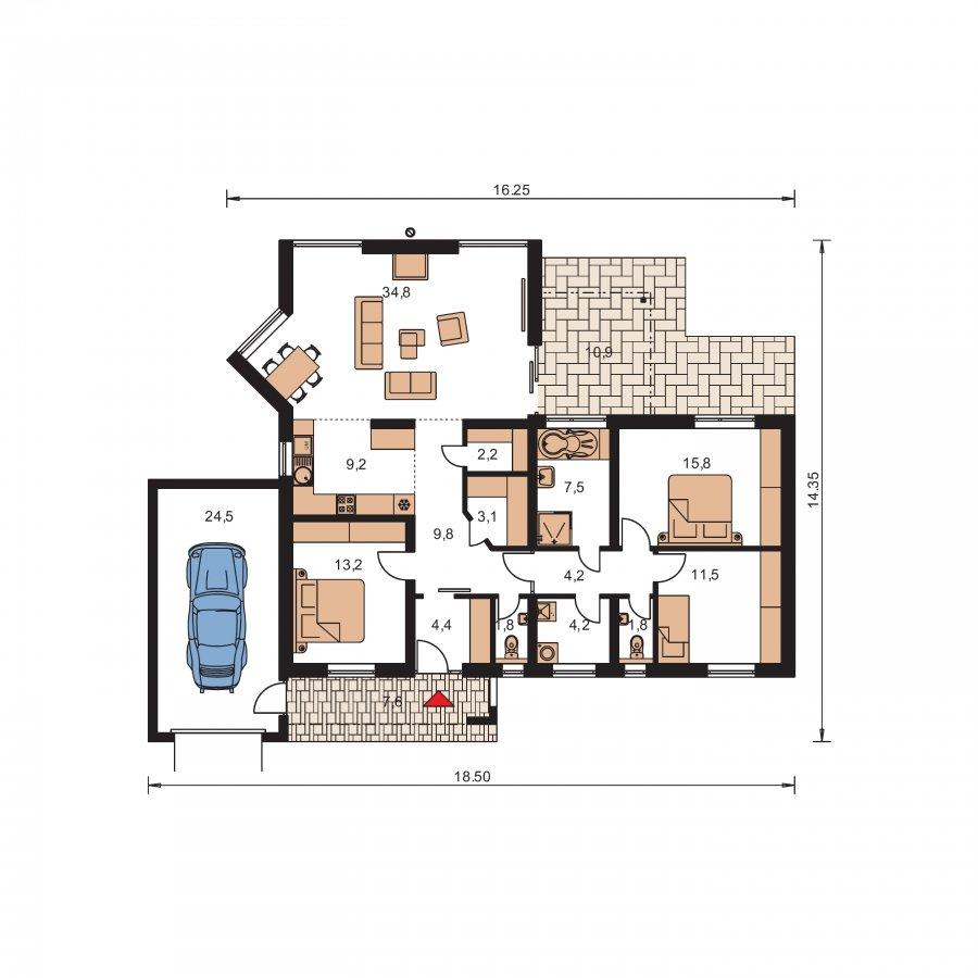 Pôdorys Prízemia - Veľkolepý dom do L