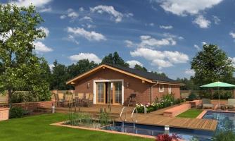 Malý lacný dom so sedlovou strechou, patrí medzi obľúbené projekty rodinných domov, 3d virtuálna realita