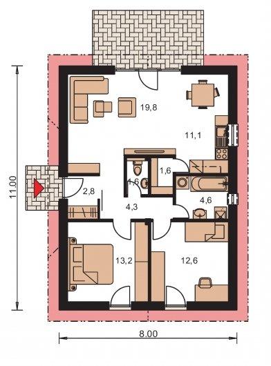 Pôdorys Prízemia - Malý dom so sedlovou strechou, patrí medzi obľúbené projekty rodinných domov