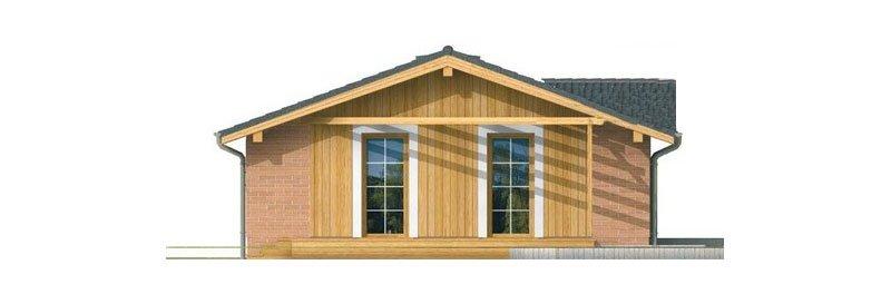 Pohľad 4. - Malý lacný dom so sedlovou strechou. Patrí medzi obľúbené projekty rodinných domov. Je spracovaný v 3D virtuálnej realite.