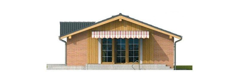 Pohľad 2. - Malý lacný dom so sedlovou strechou. Patrí medzi obľúbené projekty rodinných domov. Je spracovaný v 3D virtuálnej realite.