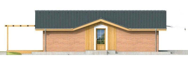 Pohľad 1. - Malý lacný dom so sedlovou strechou. Patrí medzi obľúbené projekty rodinných domov. Je spracovaný v 3D virtuálnej realite.