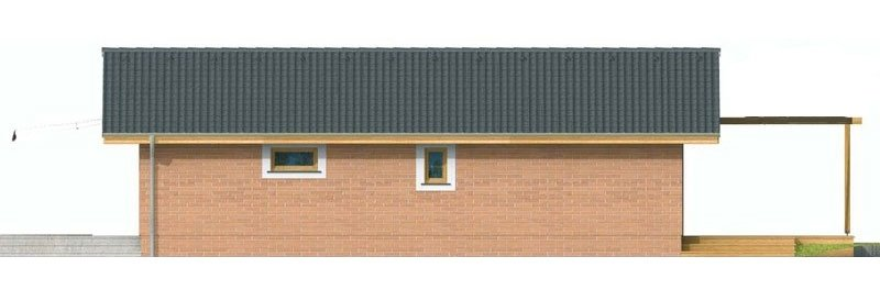 Pohľad 3. - Malý lacný dom so sedlovou strechou. Patrí medzi obľúbené projekty rodinných domov. Je spracovaný v 3D virtuálnej realite.