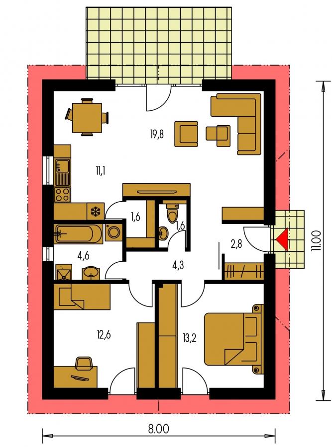 Pôdorys Prízemia - Malý lacný dom so sedlovou strechou, patrí medzi obľúbené projekty rodinných domov