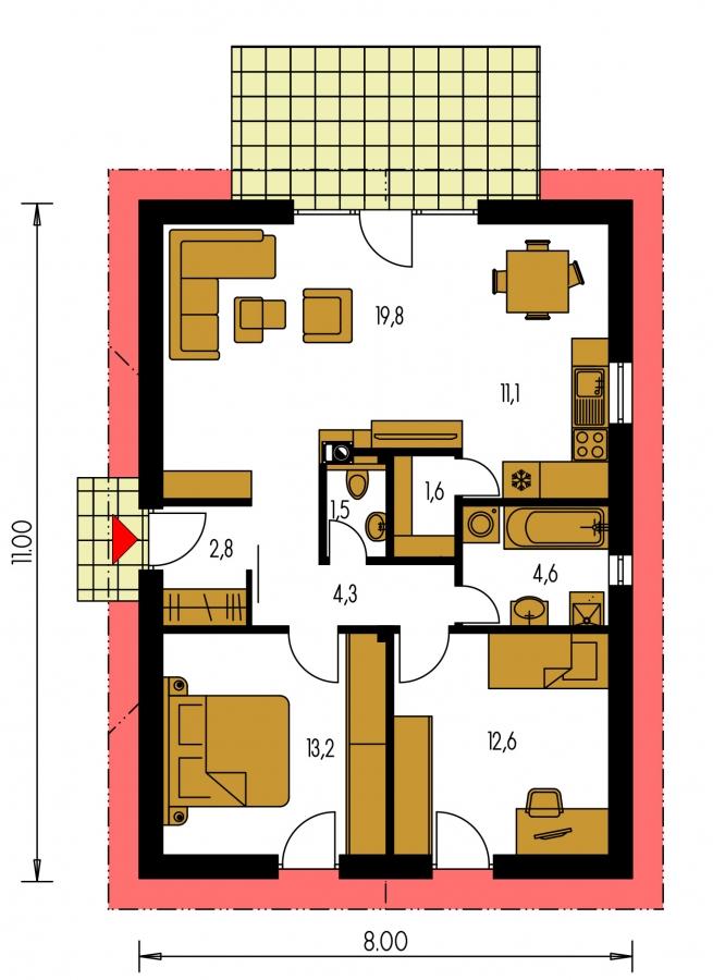 Pôdorys Prízemia - Malý lacný dom so sedlovou strechou. Patrí medzi obľúbené projekty rodinných domov. Je spracovaný v 3D virtuálnej realite.