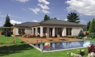 Veľkopriestorový rodinný dom do L s dvojgarážou a krytou terasou.