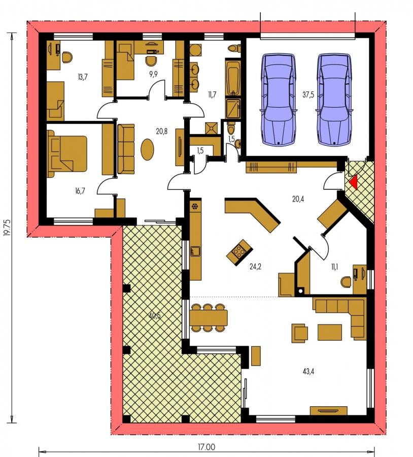 Pôdorys Prízemia - Veľkopriestorový rodinný dom do L s dvojgarážou a krytou terasou