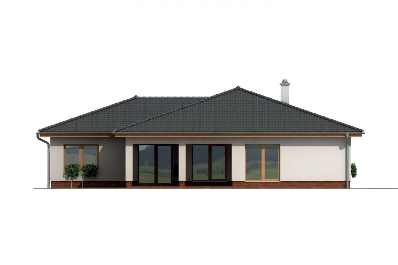 Pohľad 1. - Veľkopriestorový rodinný dom do L s dvojgarážou a krytou terasou.