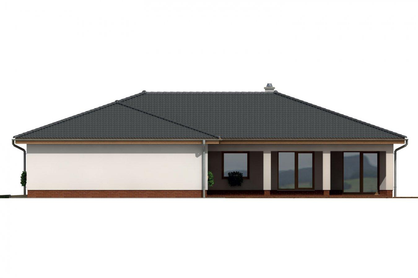 Pohľad 2. - Veľkopriestorový rodinný dom do L s dvojgarážou a krytou terasou.