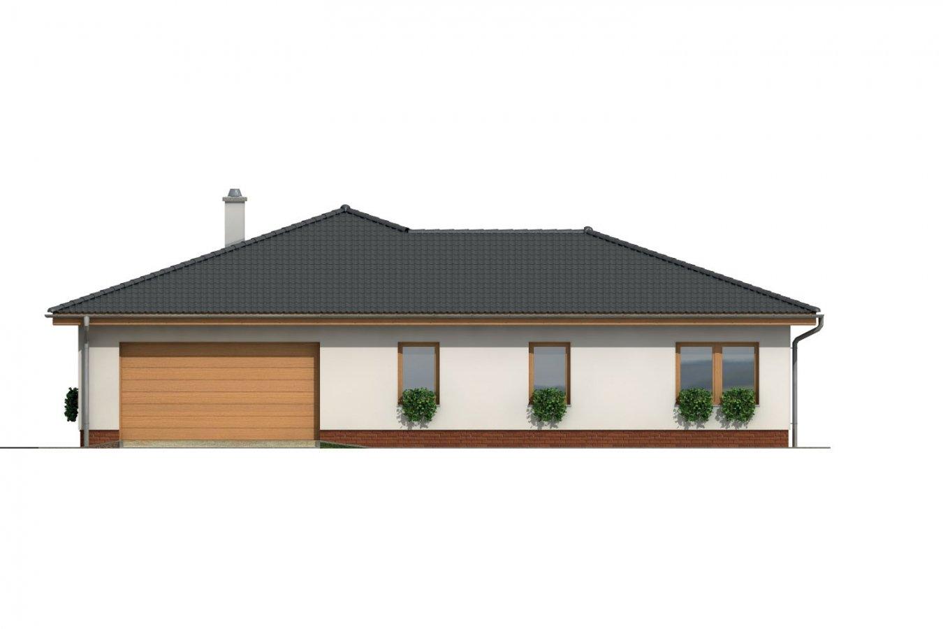 Pohľad 3. - Veľkopriestorový rodinný dom do L s dvojgarážou a krytou terasou.