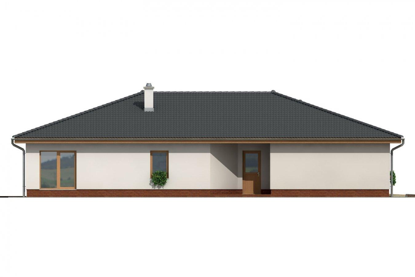 Pohľad 4. - Veľkopriestorový rodinný dom do L s dvojgarážou a krytou terasou.