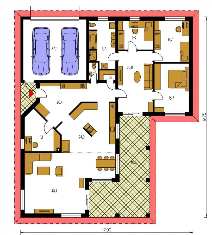 Pôdorys Prízemia - Veľkopriestorový rodinný dom do L s dvojgarážou a krytou terasou.