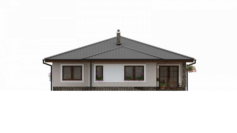 Pohľad 3. - Dom s  garážou a krytou terasou. Z garáže sa dá zrealizovať ďalšie izba.