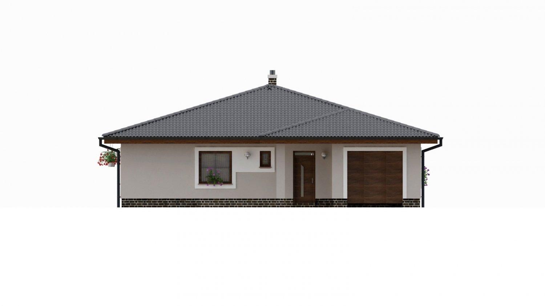 Pohľad 1. - Dom s  garážou a krytou terasou. Z garáže sa dá zrealizovať ďalšie izba.