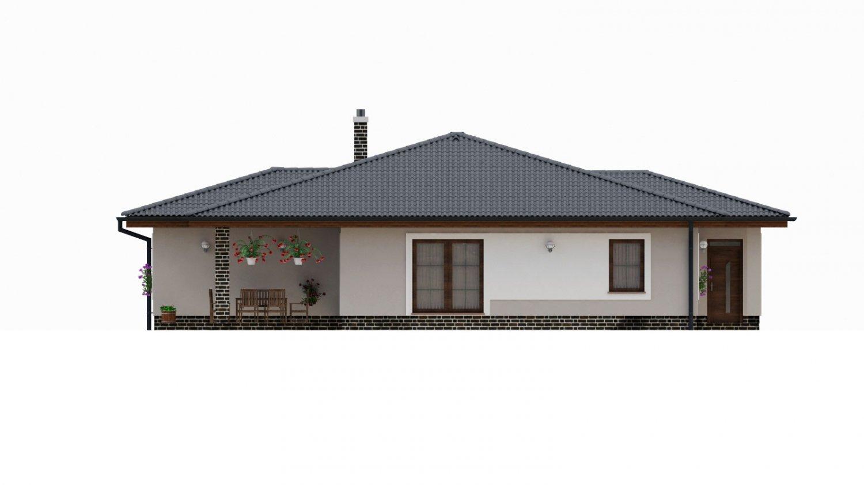 Pohľad 2. - Dom s  garážou a krytou terasou. Z garáže sa dá zrealizovať ďalšie izba.