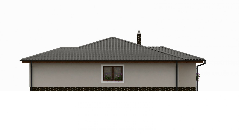 Pohľad 4. - Dom s  garážou a krytou terasou. Z garáže sa dá zrealizovať ďalšie izba.