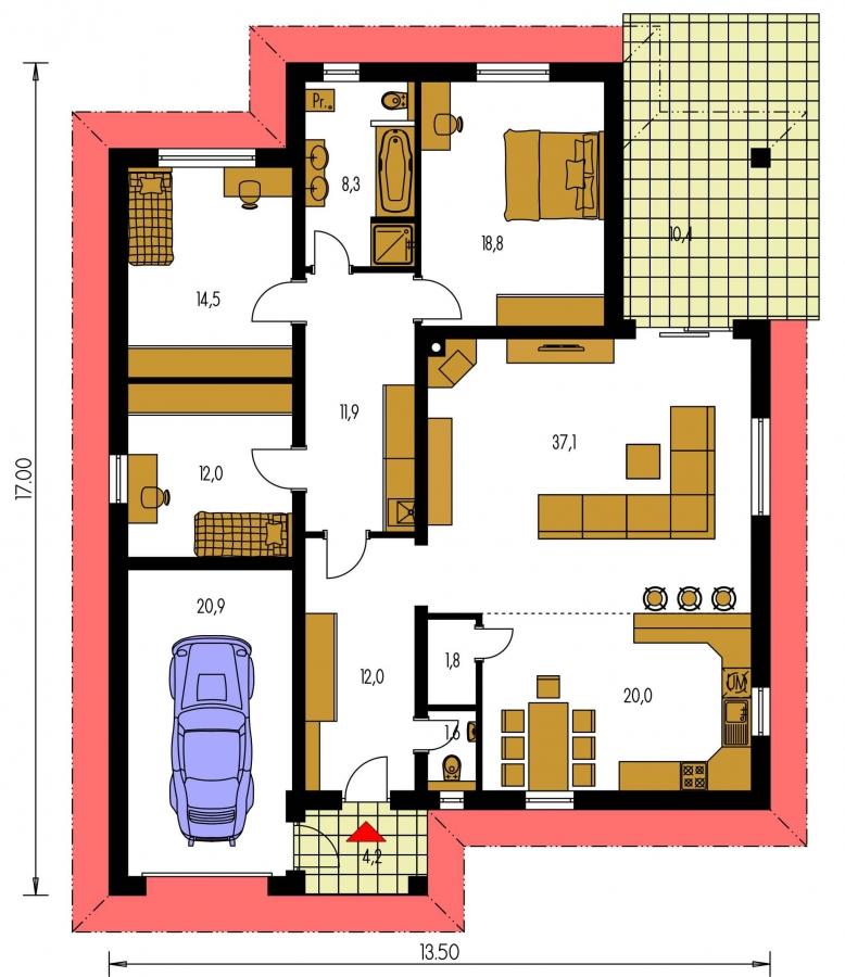 Pôdorys Prízemia - Dom s  garážou a krytou terasou. Z garáže sa dá zrealizovať ďalšie izba.