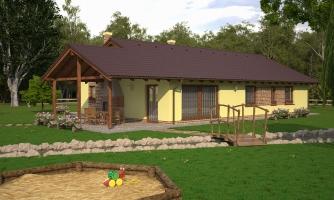 4-izbový bungalov s presvetlenou obývacou izbou strešnými oknami.