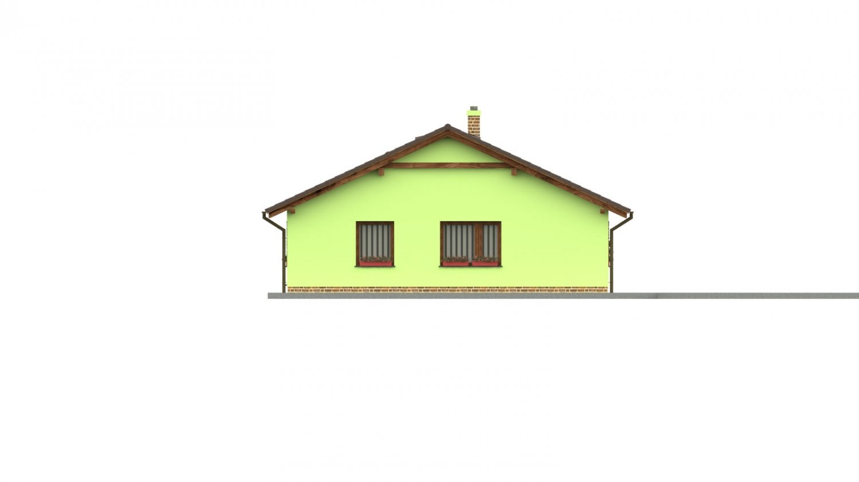 Pohľad 4. - 4-izbový bungalov s presvetlenou obývacou izbou strešnými oknami.