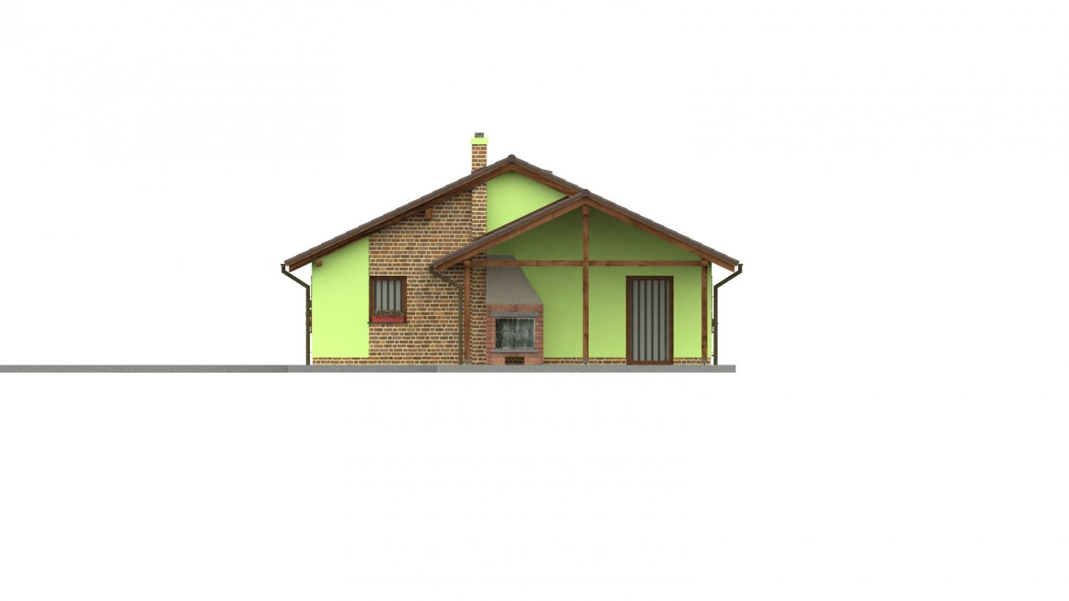 Pohľad 2. - 4-izbový bungalov s presvetlenou obývacou izbou strešnými oknami.