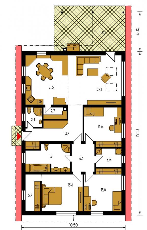 Pôdorys Prízemia - 4-izbový bungalov s presvetlenou obývacou izbou strešnými oknami.
