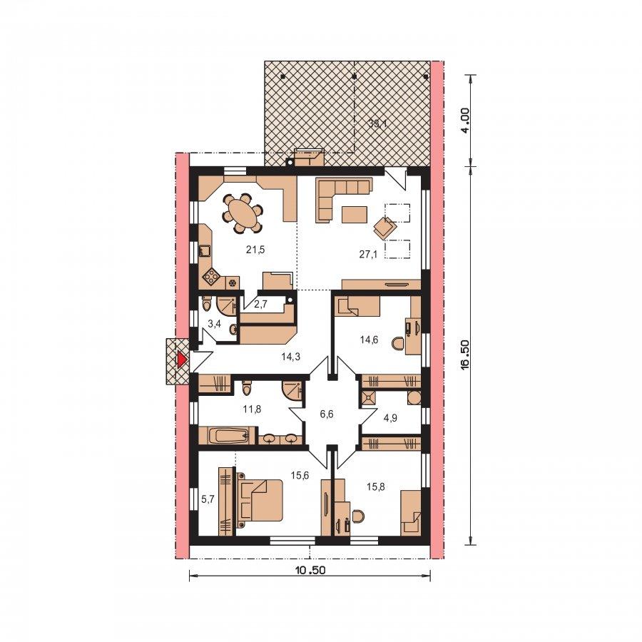Pôdorys Prízemia - Dom s veľkopriestorovou obývačkou