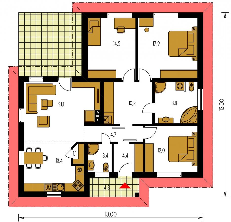 Pôdorys Prízemia - Jednoduchý dom do tvaru L.