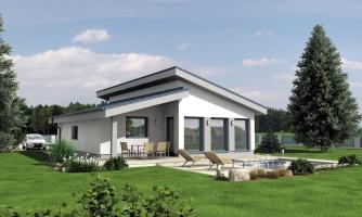 Rodinný dom s pultovou strechou.