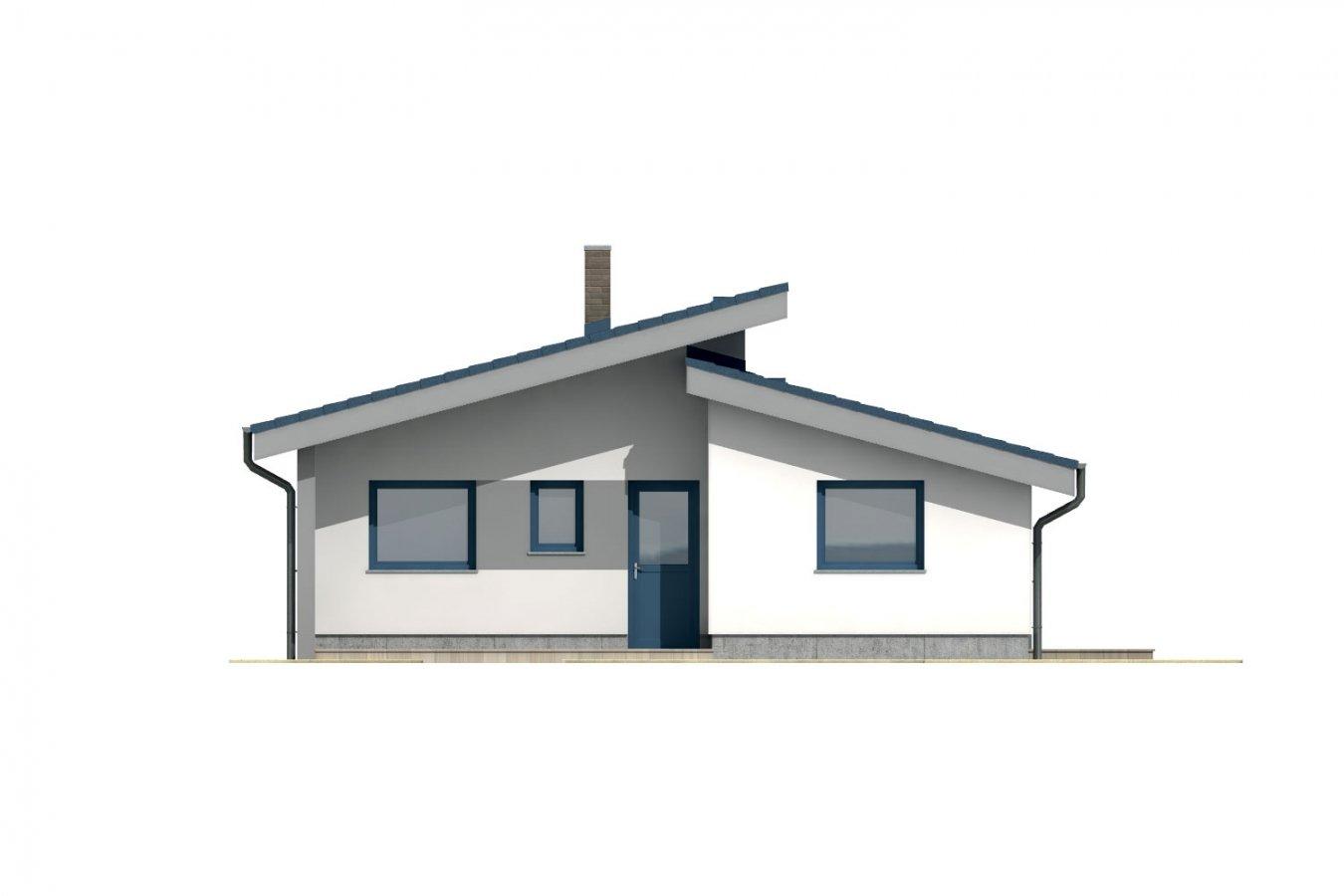 Pohľad 1. - Rodinný dom s pultovou strechou.