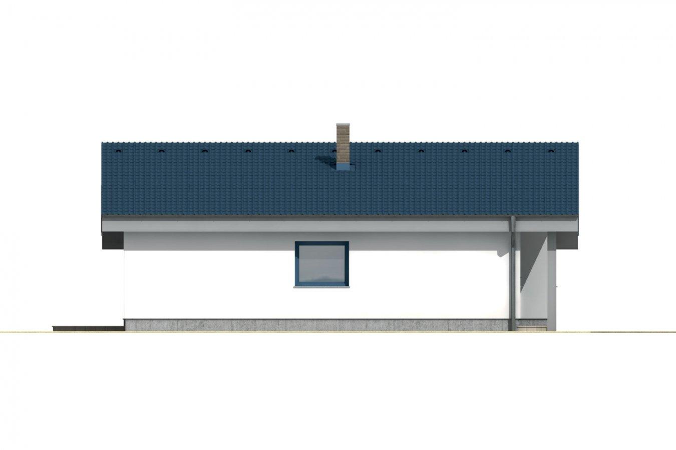 Pohľad 2. - Rodinný dom s pultovou strechou.