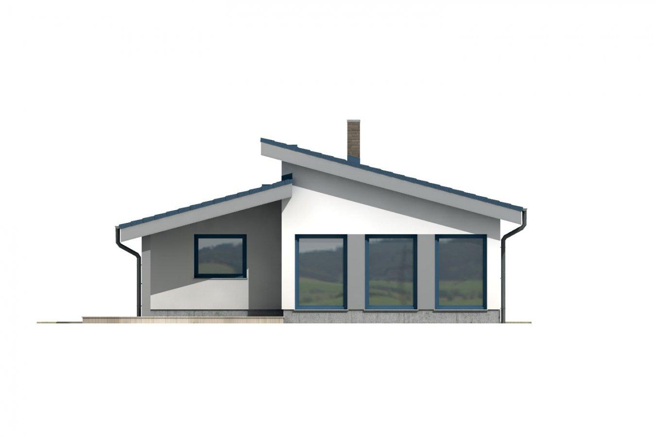 Pohľad 3. - Rodinný dom s pultovou strechou.