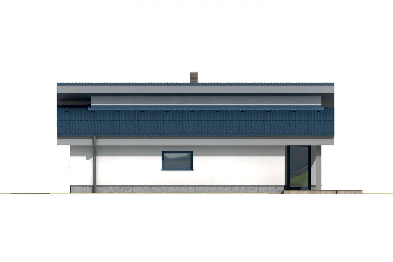 Pohľad 4. - Rodinný dom s pultovou strechou.
