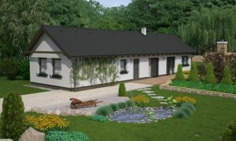 Dom vhodný na úzky pozemok vo vidieckom štýle.